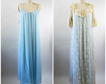 InTime Robe and Gown Blue and White Lace Ecru Lace Trim Size Medium Long Flowy Lace Robe Matched with Blue Nylon Chiffon Gown