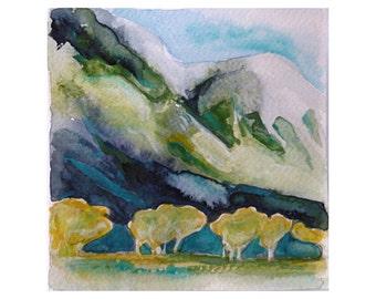 Small Watercolour Painting, mountains trees, original landscape art unframed, square art, The Golden Hour, gold home decor, NZ travel art