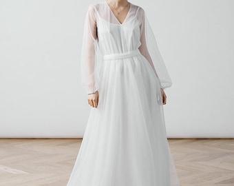 Simple wedding dress/boho dress/long sleeve dress/transformer dress/tulle dress