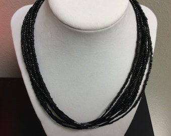 8 strand black seed bead necklace, ladies necklace, black necklace,