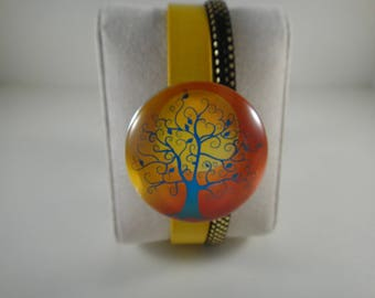 Top quality: 2 genuine leather Bracelet yellow sprigs and sequins with snap chunk interchangeable glass 30mm