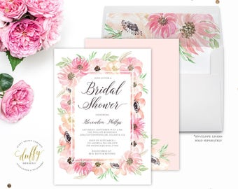 Bridal Shower Invitation, Bridal Shower Invite, Bridal Shower Invitation Blush Pink, Wedding Shower Invite, Floral Bridal Shower Invite, 5x7