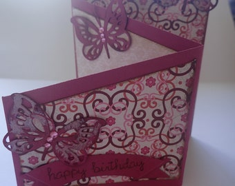 Handmade multifold butterfly card for a woman