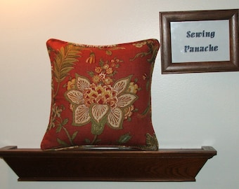 Dusty red  floral pillow covers