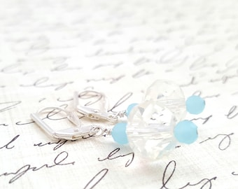 Glass Crystal Earrings - Light Blue Earrings - Faceted Glass Earrings - Formal Earrings - Milky Blue - Gift for her - Blue Drop Earrings