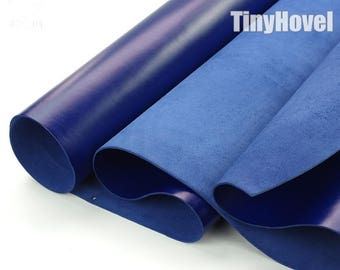 Italy Vegetable Tanned Leather, Royal Blue of Leather Off Cuts, Italian Genuine Cowhide Leathercraft [Thickness: 1.8 mm] L001