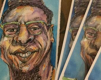PRINT Mixed Media Painting Jah with Lots of Locs