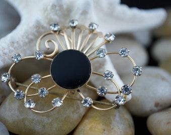 Van Dell 1/20 12K G.F Black Onyx Art Deco Jewelry flower brooch circa pin rhinestones cz  gold filled vintage jewellery U031