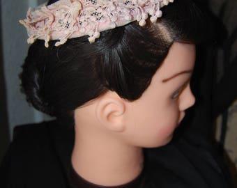 Vintage 1940s 1950s Pink Calot Halo Hat