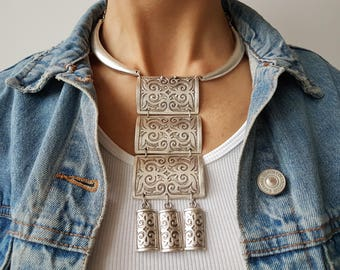 Ottoman necklace//Silver plated chain//Turkish jewelry//statement chain/Boho//Ethno/Valentine's Day/gift for her