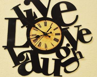 Live,love,laugh vinyl record clock