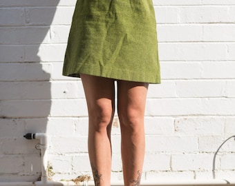 Green a-line wool mini skirt