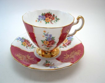 Antique Adderley tea cup and saucer, Pink, White and Gold Tea Cup & Saucer, Pink Roses, English tea cup and saucer set