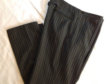 "1930's Bespoke Buckle-back Grey Striped Slacks 42""W XLT"