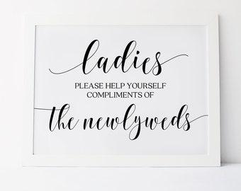 Ladies Bathroom Sign, Wedding Signs, Wedding Bathroom Basket Sign, Ladies Please Help Yourself, Wedding Reception Signs, Wedding Printables