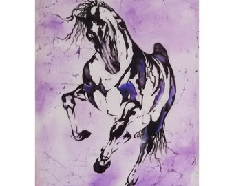 Stallion, batik painting on silk, batik wall hanging, wall art decoration, beauty, power, speed