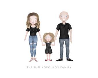 Family Portrait - Custom Illustrated