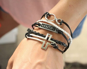 5 Strand Black and White Faith Cross Bracelet - 5 Strand Leather Wrapped Faith, Cross, and Infinity Bracelet