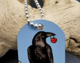 Raven and cherry necklace - dog tag style