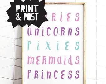 fairies decor, fairies print, fairies poster, subway art, girls subway, girls wallart
