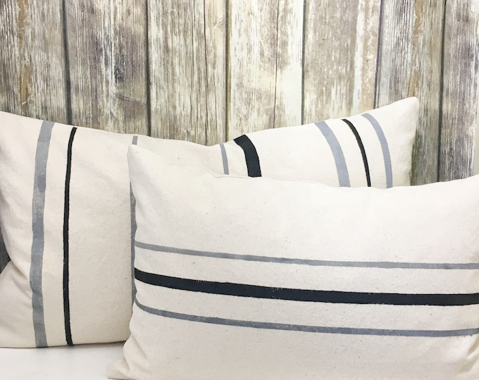 Striped pillow set!  Organic cotton with handprinted stripes in black and grey. Lumbar pillows in two sizes