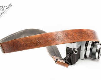 Hand Carved Floral Camera Strap With Phrase Patch