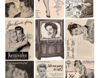 Digital Collage Sheet of Vintage Retro Advertising Images No. 3 - DIY You Print - INSTANT DOWNLOAD
