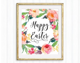 Happy Easter, Easter Printable, Easter watercolor floral wreath, Easter decoration, Floral Spring wall art, Easter sign, Typography poster