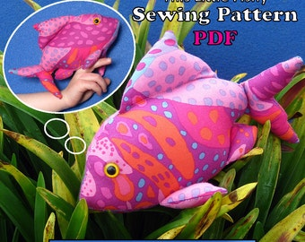"Sewing Pattern PDF FingerPocketFish1 ""This Little Fishy"" Puppet Style Action Toy for Children Full Sized Pattern pieces & Instructions."