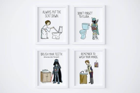 PRINTABLE Star Wars Kids Bathroom Rules Set of 4 Instant