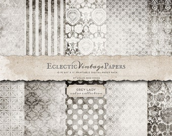 INSTANT DOWNLOAD - Eclectic Vintage Printable Scrapbook Papers - Grey Lady  - Commercial Use OK