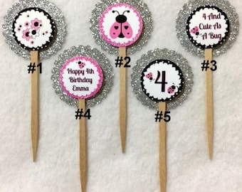 Set Of 12 Personalized Lady Bug 4th Birthday Party Cupcake Toppers (Your Choice Of Any 12)