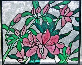"Pink Azalea Original Design Stained Glass Panel 13.75"" x 16.375"""