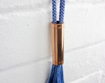 Tassel Necklace, Fringe Necklace, Copper Jewelry, Rope Necklace, Industrial Jewelry, Pipe Necklace, Available in: Cobalt Blue, Rose & Black