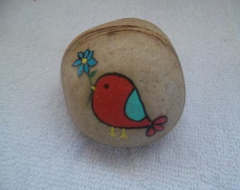 Bird with Flower  Hand Painted River Rock