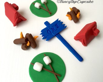 Camp theme edible fondant cupcake toppers made by FancyTopCupcake