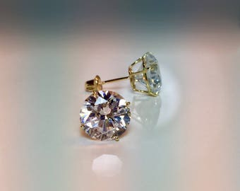 14k Screwbacks CZ Gold Earrings, 6mm Cubic Zirconia Earings,  Stud Earings, Diamond Earrings, Bling Earrings, 14k Stud Earrings