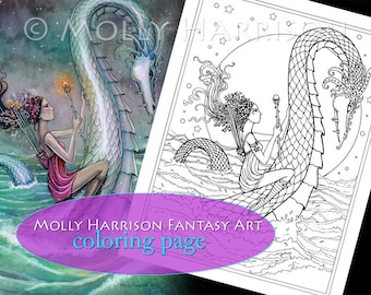 Six of Wands - Coloring Page - Printable - Fantasy Fairy Art - Molly Harrison Fantasy Art - Digistamp - Digi Stamp, fairies, faery