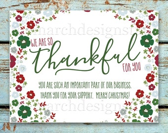 Rodan christmas card etsy business christmas thank you card printable instant download thankful holiday floral handwritten rodan and fields christmas reheart Image collections
