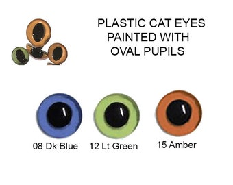 10 Pair 9mm Plastic Sew On Cat Eyes Article LP2 Available in 3 Colours Oval Pupils Teddy Bear Dragon Plush Toy Stuffed Animal Plushie