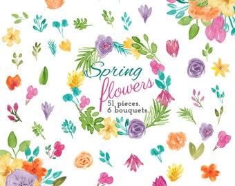 Spring Flowers Watercolor Clip Art Commercial Use 51 individual flowers, 6 Watercolour Floral Bouquet Clipart