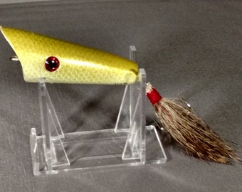 Handcrafted Wooden Bass  Pike Fishing Lure handmade surface lure, Popper