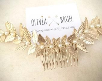 Laurel Leaf Comb Gold Laurel Comb Bridal Hair Comb Pearl Hair Comb Pearl Headpiece Grecian Wedding Greek Hair Goddess Headpiece Bridal Hair