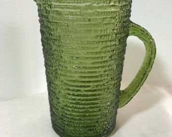 Mid Century Soreno Avocado Green Crinkle Juice Pitcher Anchor Hocking