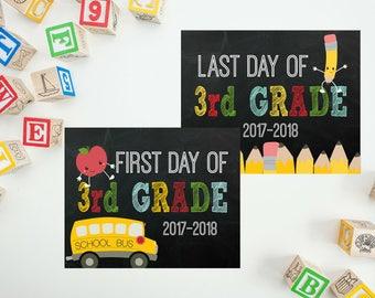First Day of School Sign - Back To School Printable - 3rd Grade Sign - Last Day of School - First Day Chalkboard Sign PRINTABLE 8x10