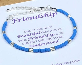 FRIENDSHIP boho seed bead bracelet, friend gift, friendship bracelet, UK seller