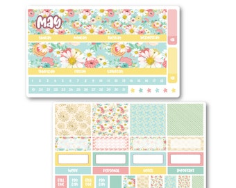 May Monthly Kit, Monthly planner stickers kit for Erin Condren, Monthly view stickers, Cute stickers, Floral stickers, Floral kit stickers