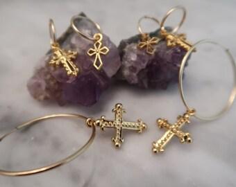 Ball Cross, Luna Cross, Bones Cross, gold hoop earrings, mini hoops, cross earrings hoop earrings, dangle earrings