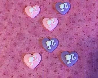 Barbie Heart Cabachons