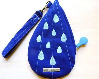 Rain Drops Purse, Water Droplets Wristlet, Tear Drop Wrist Pouch, Raindrops Wrist Clutch, Blue Wristlet, Royal Blue And Sky Blue Color